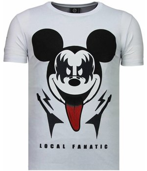 Local Fanatic Kiss My Mickey - Strass T Shirt Herren - Weiß