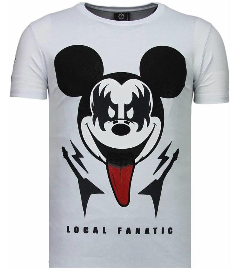 Local Fanatic Kiss My Mickey - Strass T Shirt Herren - Weiß - Styleitaly.de