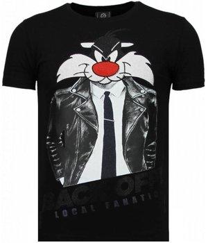 Local Fanatic Pussy Cat - Strass T Shirt Herren - Schwarz