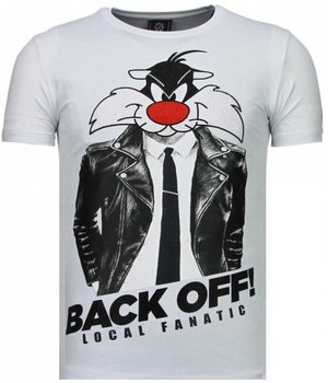 Local Fanatic Pussy Cat - Strass T Shirt Herren - Weiß