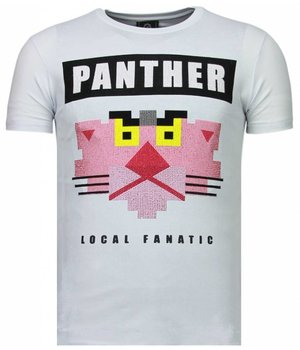 Local Fanatic Panther For A Cougar - Strass T Shirt Herren - Weiß