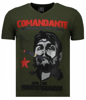 Local Fanatic Che Guevara Comandante -Strass T Shirt Herren - Grün
