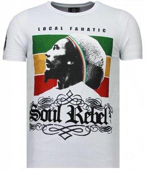 Local Fanatic Soul Rebel Bob - Strass T Shirt Herren - Weiß