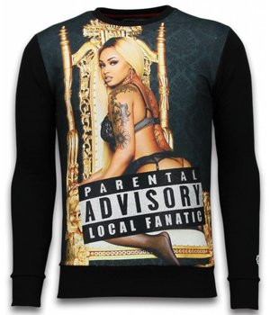Local Fanatic Parental Advisory - Strass Sweatshirt - Schwarz