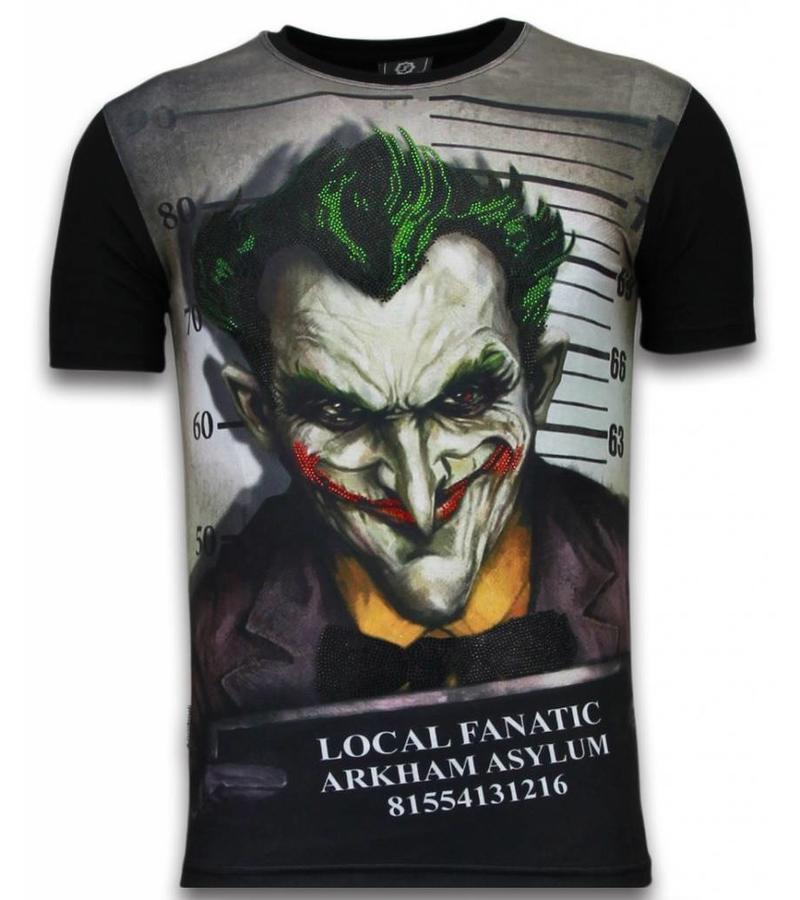 Local Fanatic The Joker Arkham Asylum - Digital Strass T Shirt Herren - Schwarz