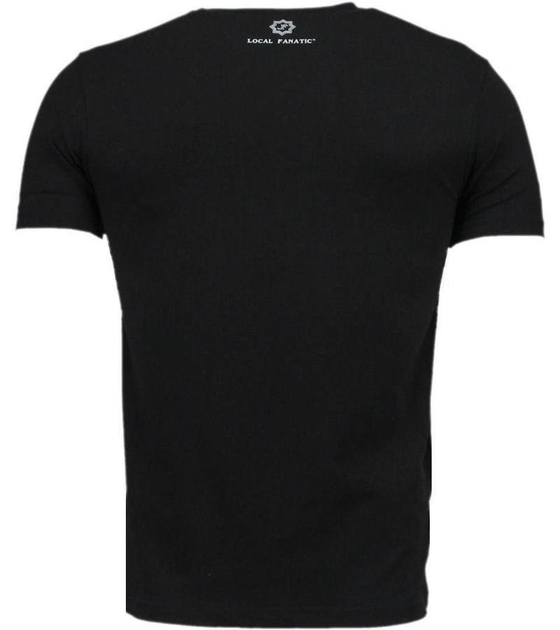 Local Fanatic Black Ink Crew - Digital Strass T Shirt Herren - Schwarz