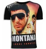 Local Fanatic Tony Montana - Digital Strass T Shirt Herren - Schwarz