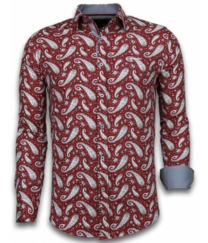 Gentile Bellini ItaliItalianische Hemden - Slim Fit -Blouse Flower Pattern - Bordeaux