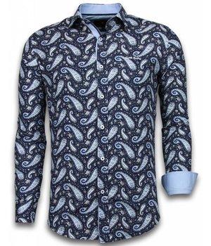 Gentile Bellini ItaliItalianische Hemden - Slim Fit -Blouse Flower Pattern - Blau