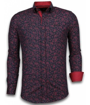 Gentile Bellini ItaliItalianische Hemden - Slim Fit - Blouse Leaves Pattern - Schwarz