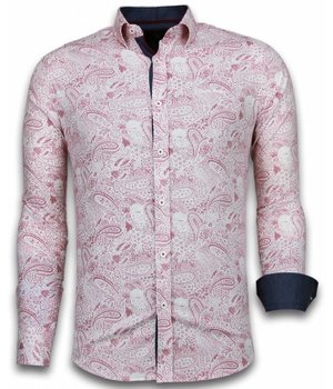 Gentile Bellini ItaliItalianische Hemden - Slim Fit  - Blouse Allover Flower Pattern - Rot