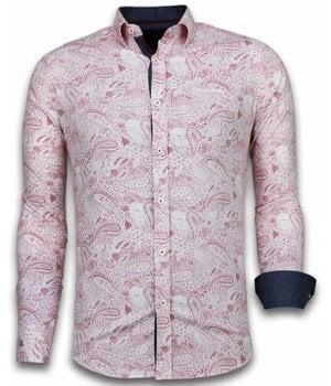 Gentile Bellini ItaliItalianische Hemden - Slim Fit  - Blouse Allover Flower Pattern - Rot