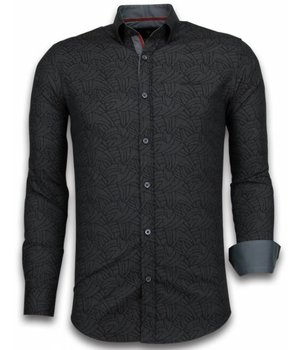 Gentile Bellini ItaliItalianische Hemden - Slim Fit - Blouse Dotted Leaves Pattern - Schwarz
