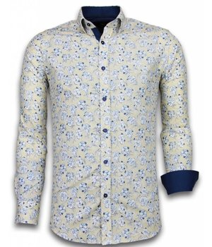 Gentile Bellini ItaliItalianische Hemden - Slim Fit - Blouse Drawn Flower Pattern - Beige
