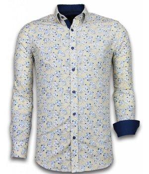 Gentile Bellini ItaliItalianische Hemden - Slim Fit - Blouse Drawn Flower Pattern - Beige