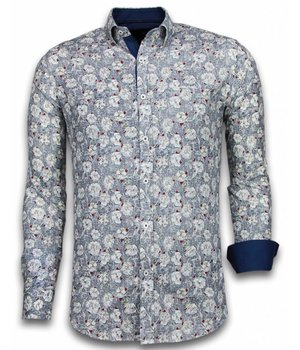 Gentile Bellini ItaliItalianische Hemden - Slim Fit -Blouse Drawn Flower Pattern - Blau