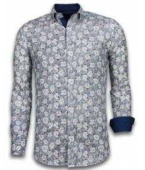 Gentile Bellini ItaliItalianische Hemden - Slim Fit -Blouse Drawn Flower Pattern - Blau