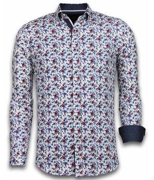 Gentile Bellini ItaliItalianische Hemden - Slim Fit - Blouse Painted Flower Pattern - Weiß