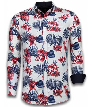 Gentile Bellini ItaliItalianische Hemden - Slim Fit - Blouse Big Flower Pattern - Weiß