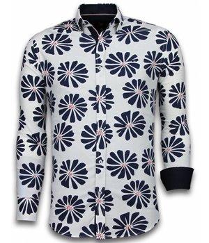 Gentile Bellini ItaliItalianische Hemden - Slim Fit  - Blouse Big Leave Pattern - Weiß