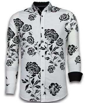 Gentile Bellini ItaliItalianische Hemden - Slim Fit  - Blouse Flower Pattern - Weiß