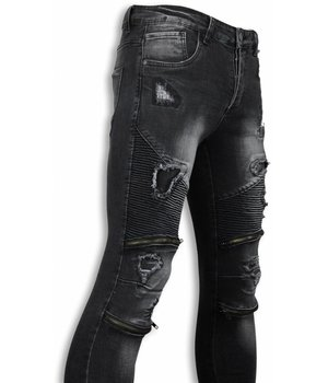 Urban Rags Biker Jeans - Slim Fit Damaged Biker Jeans With Zippers - Schwarz