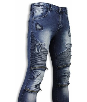Urban Rags Biker Jeans - Slim Fit Damaged Biker Jeans With Zippers - Blau