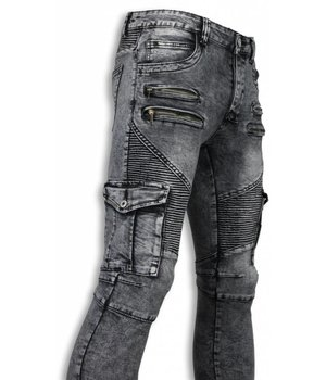 Urban Rags Biker Jeans - Slim Fit Biker Jeans Side Pocket & Zippers - Grau