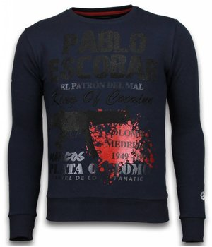 Local Fanatic Pablo Escobar - Strass Sweater - Blau