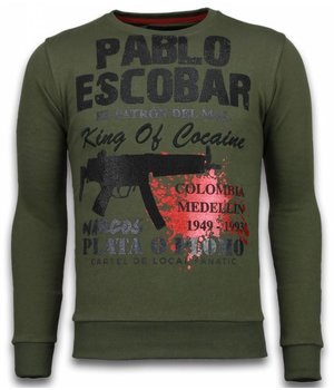 Local Fanatic Pablo Escobar - Strass Sweater - Grün