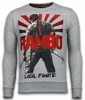 Local Fanatic Rambo - Strass Sweater - Grau