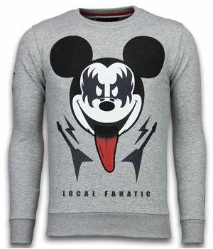 Local Fanatic Kiss My Mickey - Strass Sweater - Grau