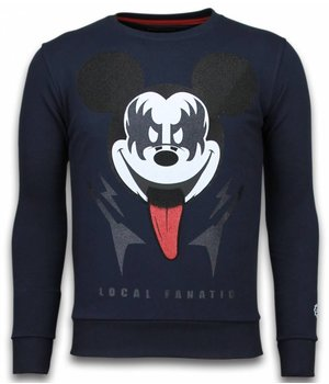 Local Fanatic Kiss My Mickey - Strass Sweater - Blau