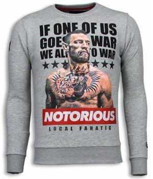 Local Fanatic Conor McGregor - Strass Sweater - Grau
