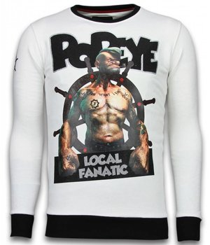 Local Fanatic Popeye - Strass Sweater - Weiß