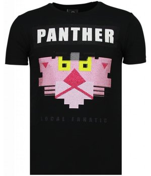 Local Fanatic Panther For A Cougar - Strass T-shirt - Schwarz