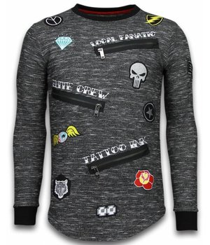 Local Fanatic Longfit Embriordry - Sweater Patches - Elite Crew - Grau