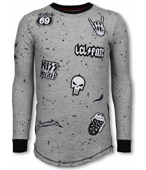 Local Fanatic Longfit Embriordry - Sweater Patches - Rockstar - Grau