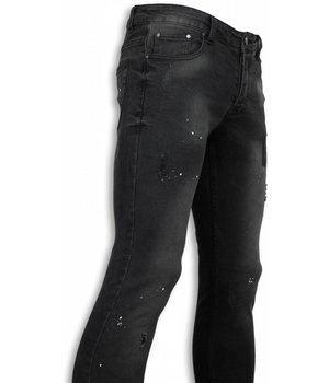 New Stone Exklusive Jeans - Slim Fit Paint Drops Jeans - Schwarz