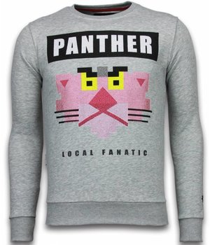 Local Fanatic Panther - Rhinestone Sweater - Grau