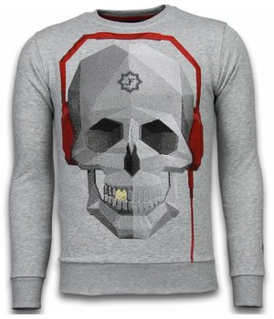 Local Fanatic Skull Beat - Rhinestone Sweater - Grau