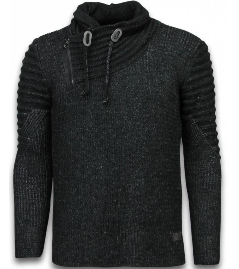 black number gestrickt herren pullover doppelte schalkragen zipper schwarz. Black Bedroom Furniture Sets. Home Design Ideas