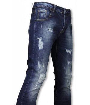 Avenue Denim Basic Jeans - Damaged Überall Tapered Fit - Blau