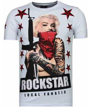 Local Fanatic Marilyn Rockstar - Strass T-shirt - weiß