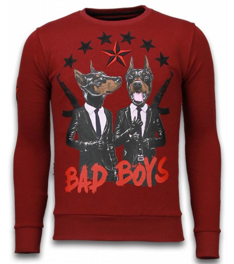 Local Fanatic Bad Boys - Strass Sweater - Bordeaux