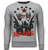 Local Fanatic Bad Boys - Strass Sweater - Grau