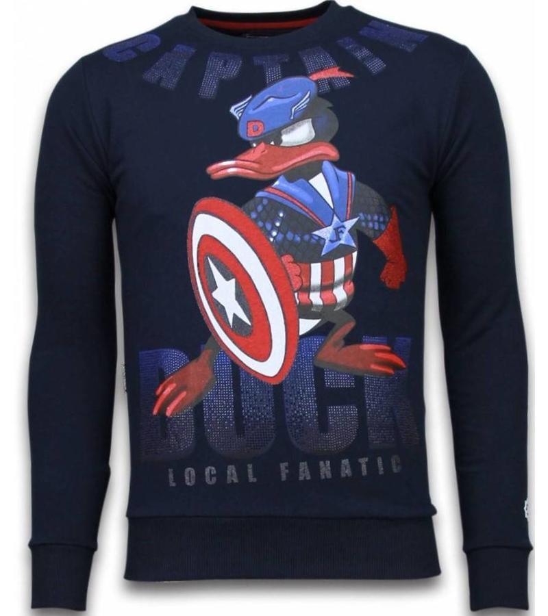 Local Fanatic Captain Duck - Strass Sweater - Navy