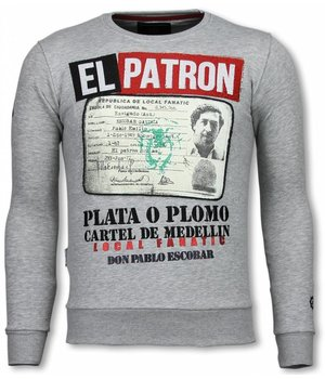 Local Fanatic Narcos Billionaire -Strass Sweater - Grau