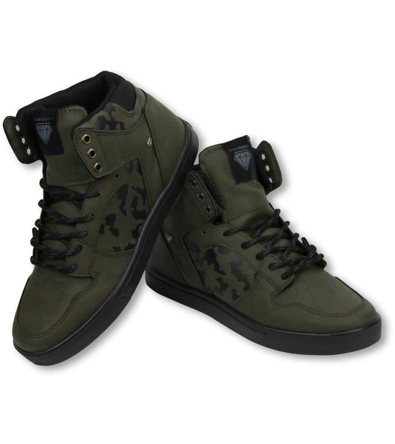 Cash Money Sneakers Schuhe Hoch Herren Army Khaki Schwarz
