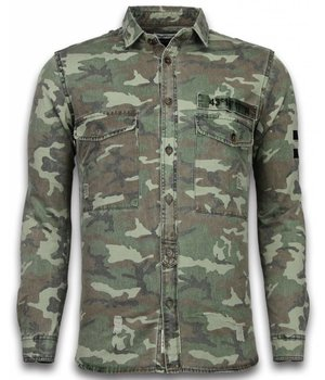 Bread & Buttons Jeanshemd Herren - Slim Fit Long Sleeve -  Camouflage Pattern - Grün
